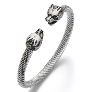 Mens Wolf Bracelet Stainless Steel Twisted Cable Bangle Cuff