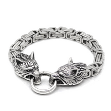 Load image into Gallery viewer, Men Stainless Steel King Chain Viking Wolf Head Bracelet
