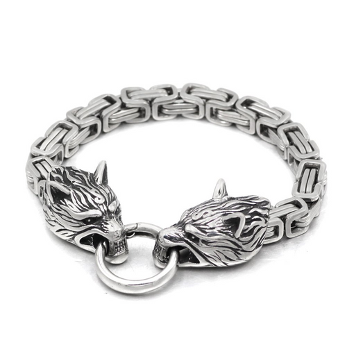 Men Stainless Steel King Chain Viking Wolf Head Bracelet