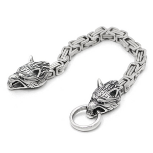 Mens Wolf Head Bracelet Bangle Stainless Steel 3 Styles