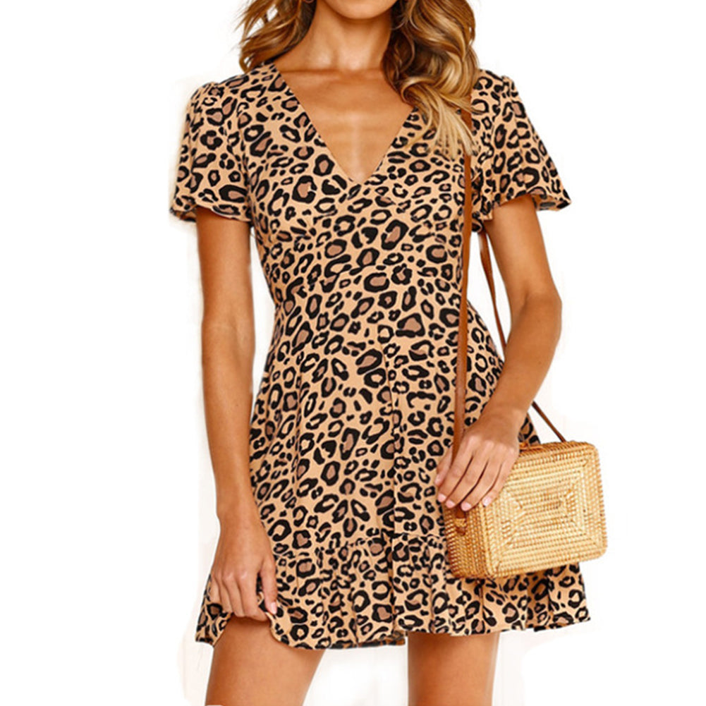 Mini Dress Leopard Printed Ruffled Hem