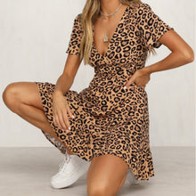 Load image into Gallery viewer, Mini Dress Leopard Printed Ruffled Hem