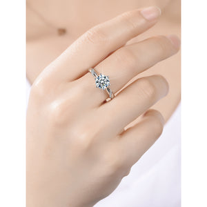 Moissanite Engagement Ring 1 Carat Round Cut Prong Setting Lab Diamond