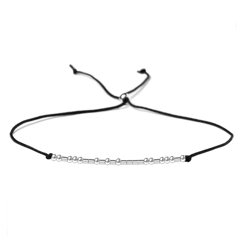 Morse Code Bracelet Sterling Silver Beads Black Silk String Adjustable Friendship Bracelet