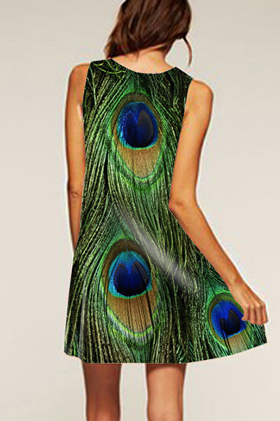 Loose Dress Peacock Feather Print