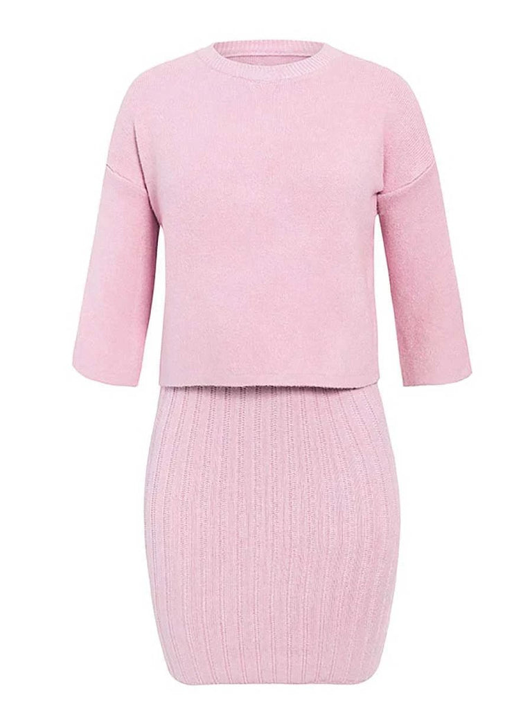 2 pieces women knitted dress pullover sweater dress one size for autumn winter