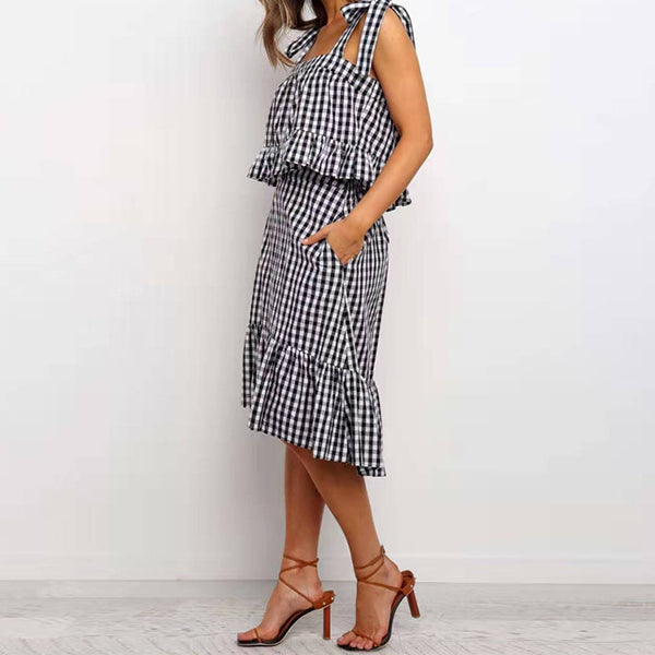 Spring Black White Plaid Dress Pocket 2 Piece