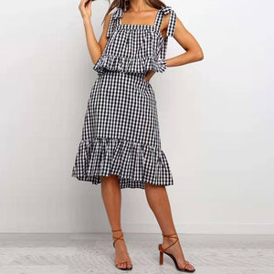 2 Piece Plaid Ruffle Dress