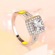 Load image into Gallery viewer, Princess Cut Engagement Rings Silver