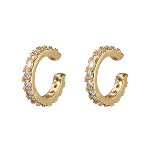 Gold Huggie Clip on Earrings Women CZ Rainbow Earrings Ear Cuff Set