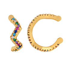 Load image into Gallery viewer, Gold Huggie Clip on Earrings Women CZ Rainbow Earrings Ear Cuff Set
