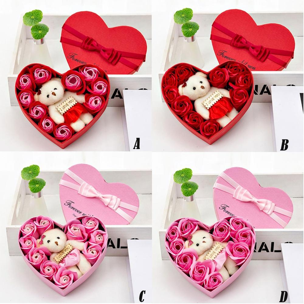 Valentine's Day Creative Gift Rose Teddy Bear Rose Flower Artificial Decoration