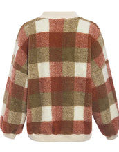 Load image into Gallery viewer, womens pullover sweatshirt plaid lambswool o-neck