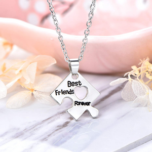 3Pcs 4Pcs Puzzle BFF Friendship Silver Necklace Pendant Gifts for Girls Sister Cute Alloy with Rhinestone