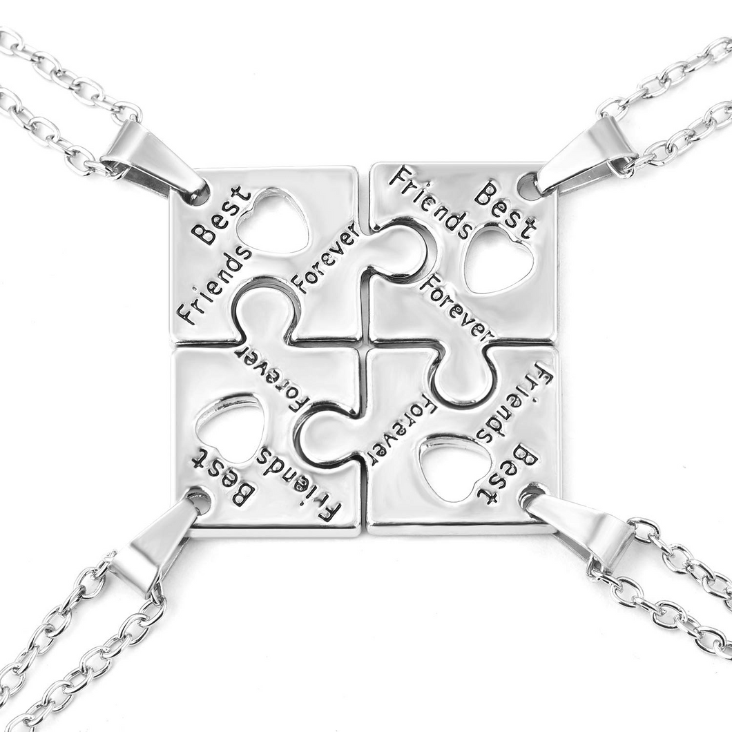 4Pcs Puzzle BFF Friendship Silver Necklace Pendant Gifts for Girls Sister