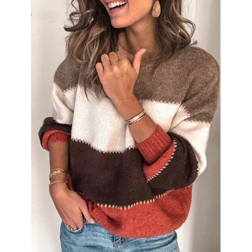 Womens Color Block Oversized Crewneck Sweaters Striped Long Sleeve Loose Knitted Pullover Jumper