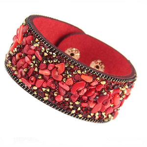red stone cuff leather bracelet