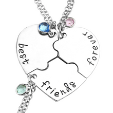 Load image into Gallery viewer, 3Pcs 4Pcs Puzzle BFF Friendship Silver Necklace Pendant