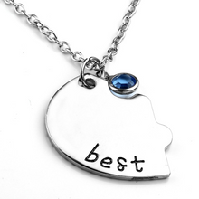Load image into Gallery viewer, 3Pcs 4Pcs Puzzle BFF Friendship Silver Necklace Pendant Gifts for Girls Sister Cute Alloy with Rhinestone