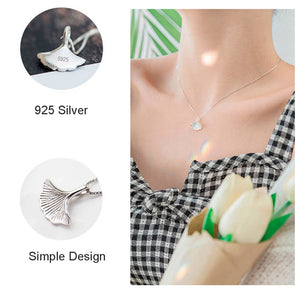 Pendant Choker Necklace Ginkgo Leaf 925 Silver Box Chain