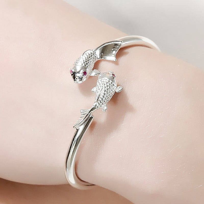 Silver Bangle Goldfish Opening Adjustable Ethnic Style