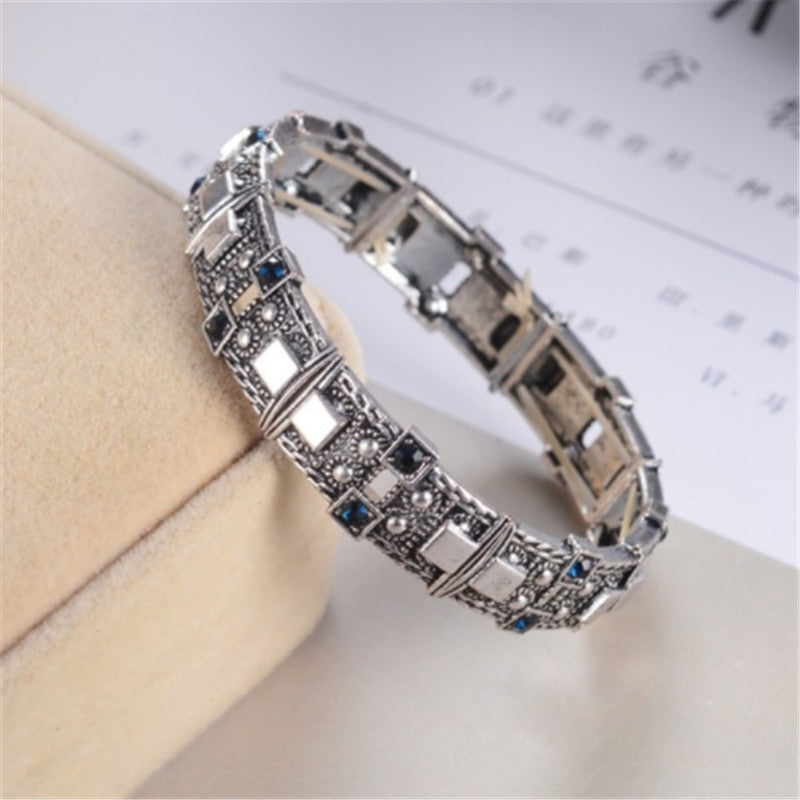 silver blue Adjustable Statement Bracelet Rhinestone Silver Gold for Women Toggle-clasps