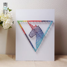 Load image into Gallery viewer, Handmade String Art Pin Tread Art Unicorn