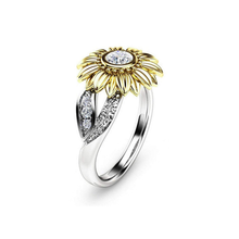 Load image into Gallery viewer, Sunflower Rings for Women Sterling Silver Cubic Zirconia Eternity Band