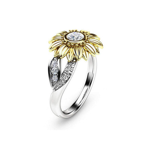 Sunflower Rings for Women Sterling Silver Cubic Zirconia Eternity Band