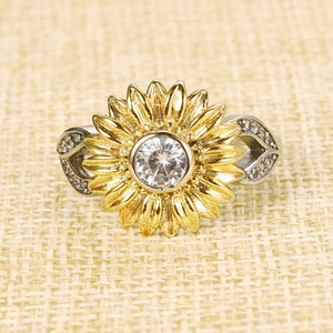 Sunflower Engagement Rings for Women Sterling Silver Cubic Zirconia Eternity Band