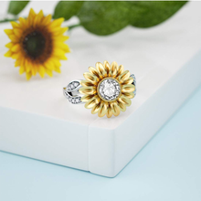 Load image into Gallery viewer, Sunflower Engagement Rings for Women Sterling Silver Cubic Zirconia Eternity Band