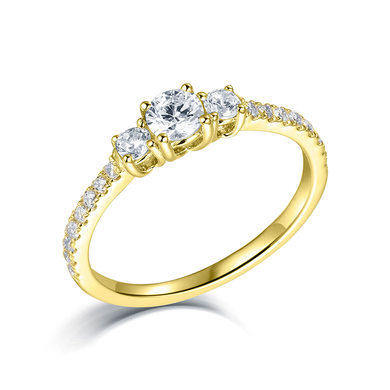 Three Stone Engagement Ring Round Cut Prong Setting Gold Plating