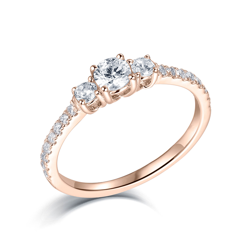 Three Stone Engagement Ring Round Cut Prong Setting Gold Plating Rose Gold