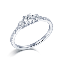 Load image into Gallery viewer, Three Stone Engagement Ring Round Cut Prong Setting 925 sterling silver