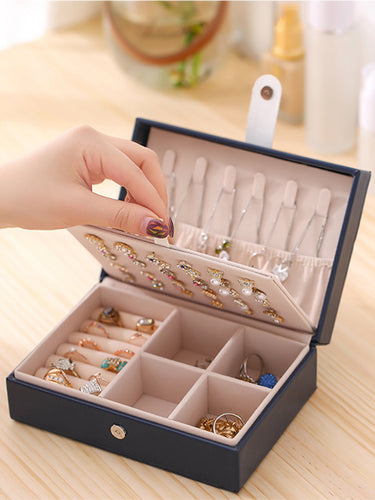 travel jewelry box case portable pu black color