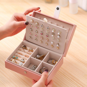 travel jewelry box case portable pu pink color