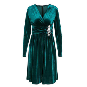 Velvet dress for party green cross v neck