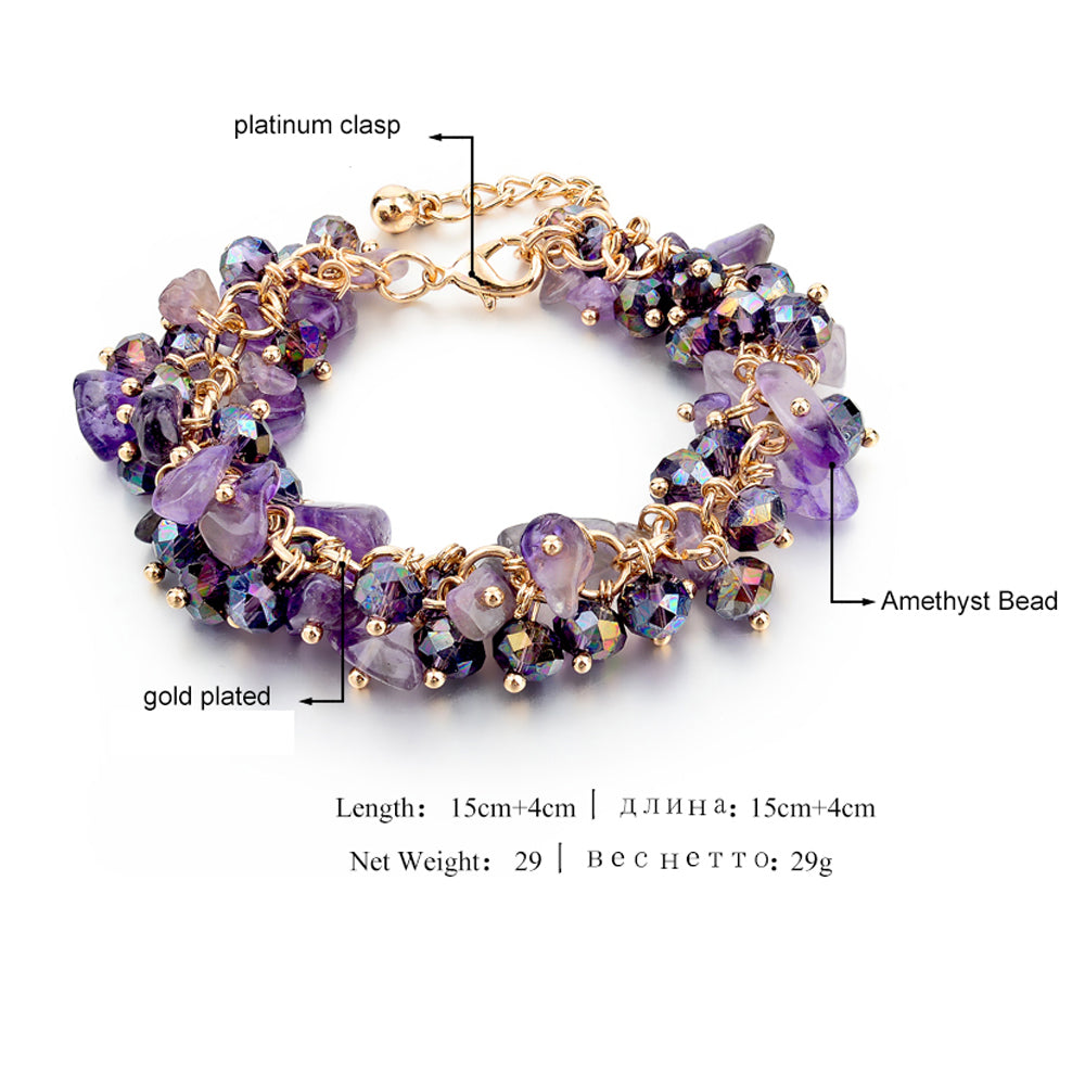 Vintage Amethyst Beads Bracelet with Diamond Clasp in Platinum
