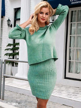 Load image into Gallery viewer, green black 2 pieces women knitted dress pullover sweater dress one size