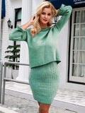 green black 2 pieces women knitted dress pullover sweater dress one size