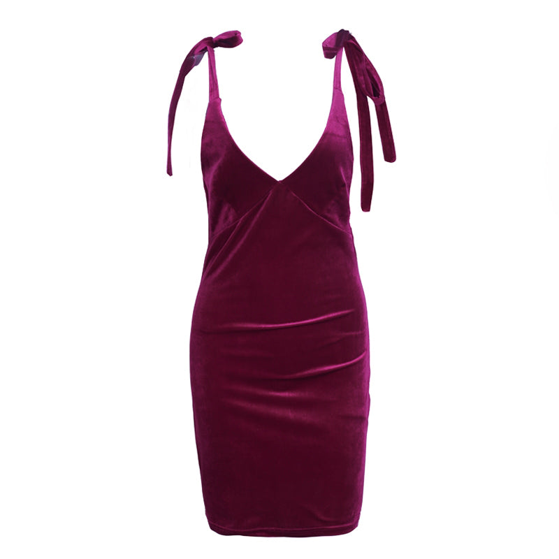 women velvet dress v neck red tie up