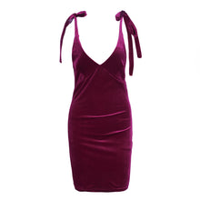 Load image into Gallery viewer, women velvet dress v neck red tie up