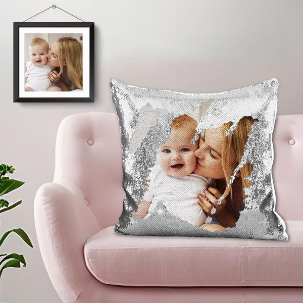 Magic Sequins Pillow - Custom Your Photo - Silver - 15.75in x15.75in