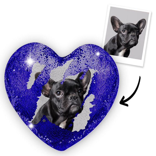 Magic Heart Sequins Pillow - Custom Your Photo - Blue
