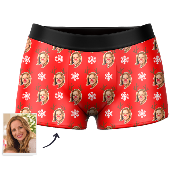 CUSTOM MEN'S CHRISTMAS REINDEER FACE BOXER SHORTS