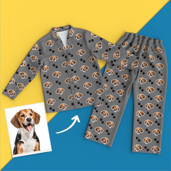 Custom Face Pet Footprint Long Sleeve Pajamas Leisure Wear