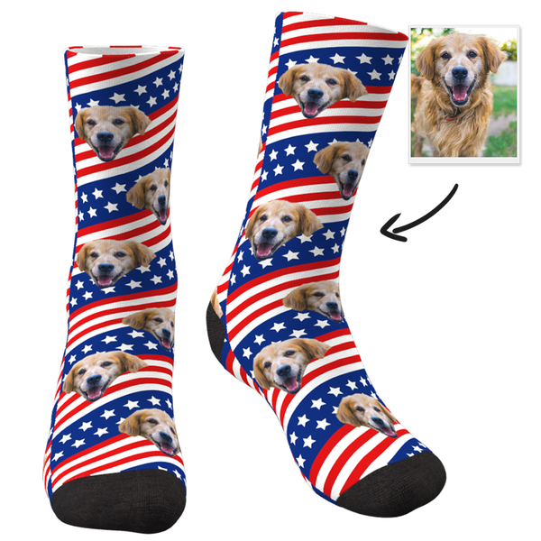 Flag Of America With Face Custom Socks