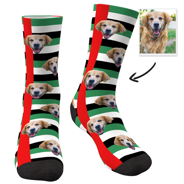 Flag Of The United Arab Emirates With Face Custom Socks