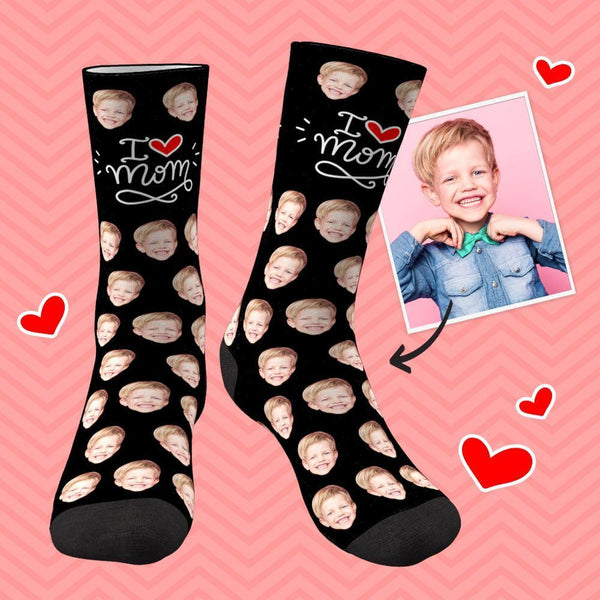 Personalized Face Socks I Love Mom Mother's Day Gifts