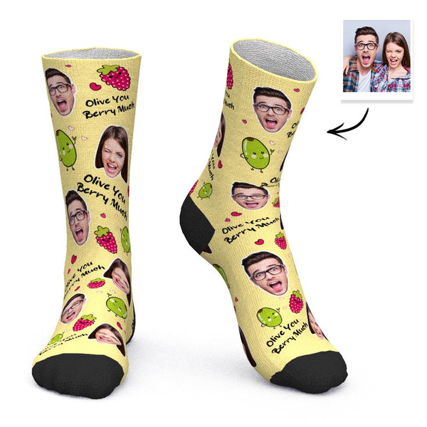 Custom Face Socks Personalized Gifts - Olive You Berry Much